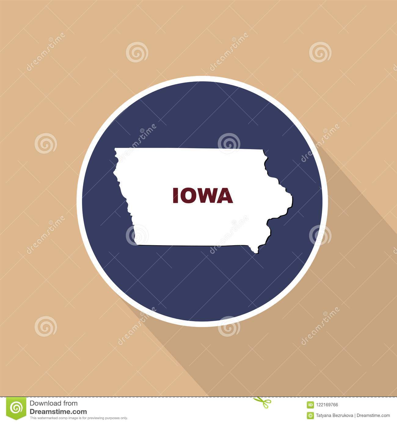 Map Of The U.S. State Of Iowa On A Blue Background. State Name ... S In Iowa Map on
