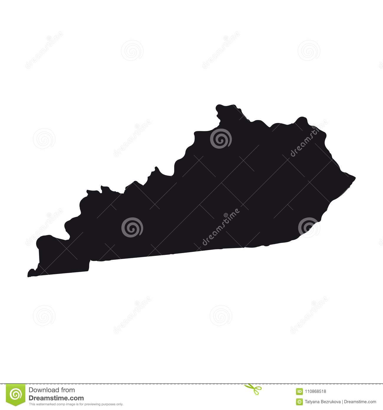 Map Of The U.S. State Of Kentucky On A White Background. Stock ...