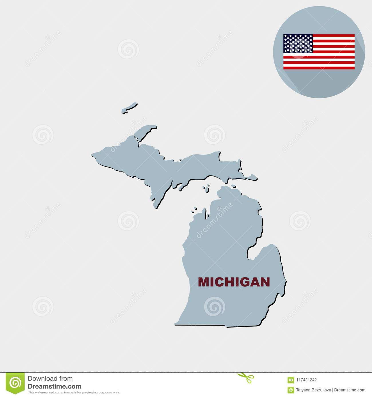 Map Of The U.S. State Of Michigan On A Grey Background. American ...