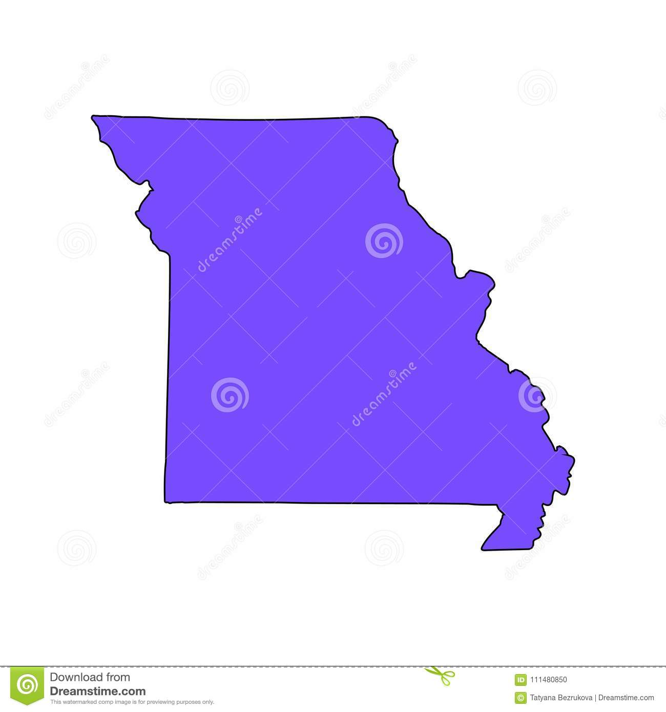 Map Of The U.S. State Of Missouri On A White Background. Stock ... S In Missouri Map on