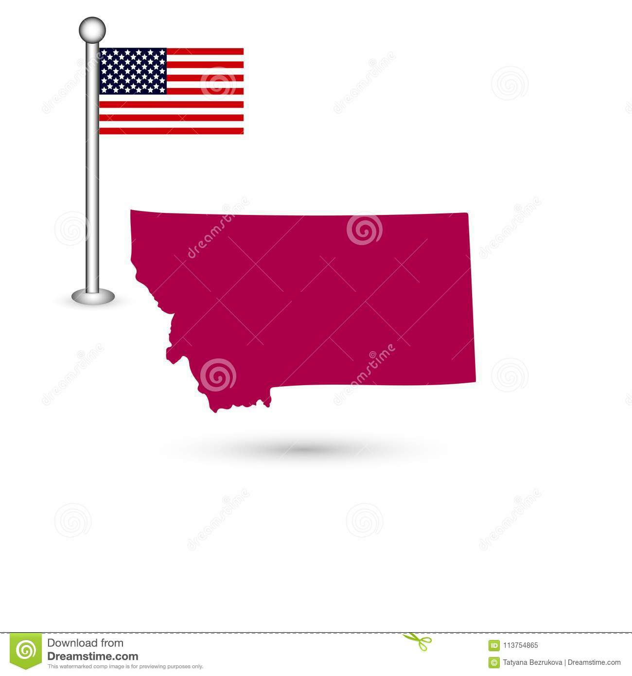Map Of The U S State Of Montana On A White Background American