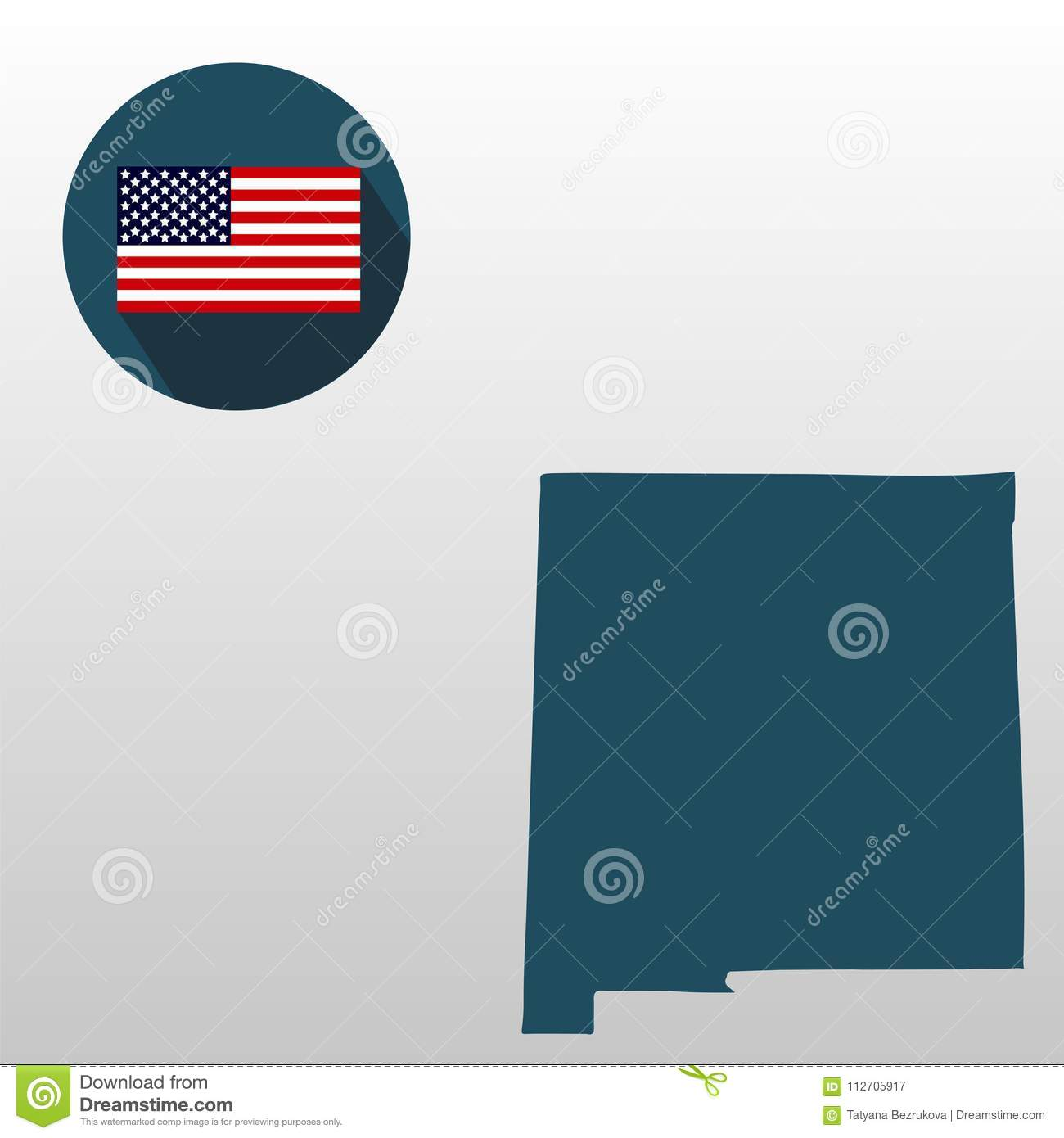 Map Of The U.S. State Of New Mexico On A White Background. American Map Of S In New Mexico on