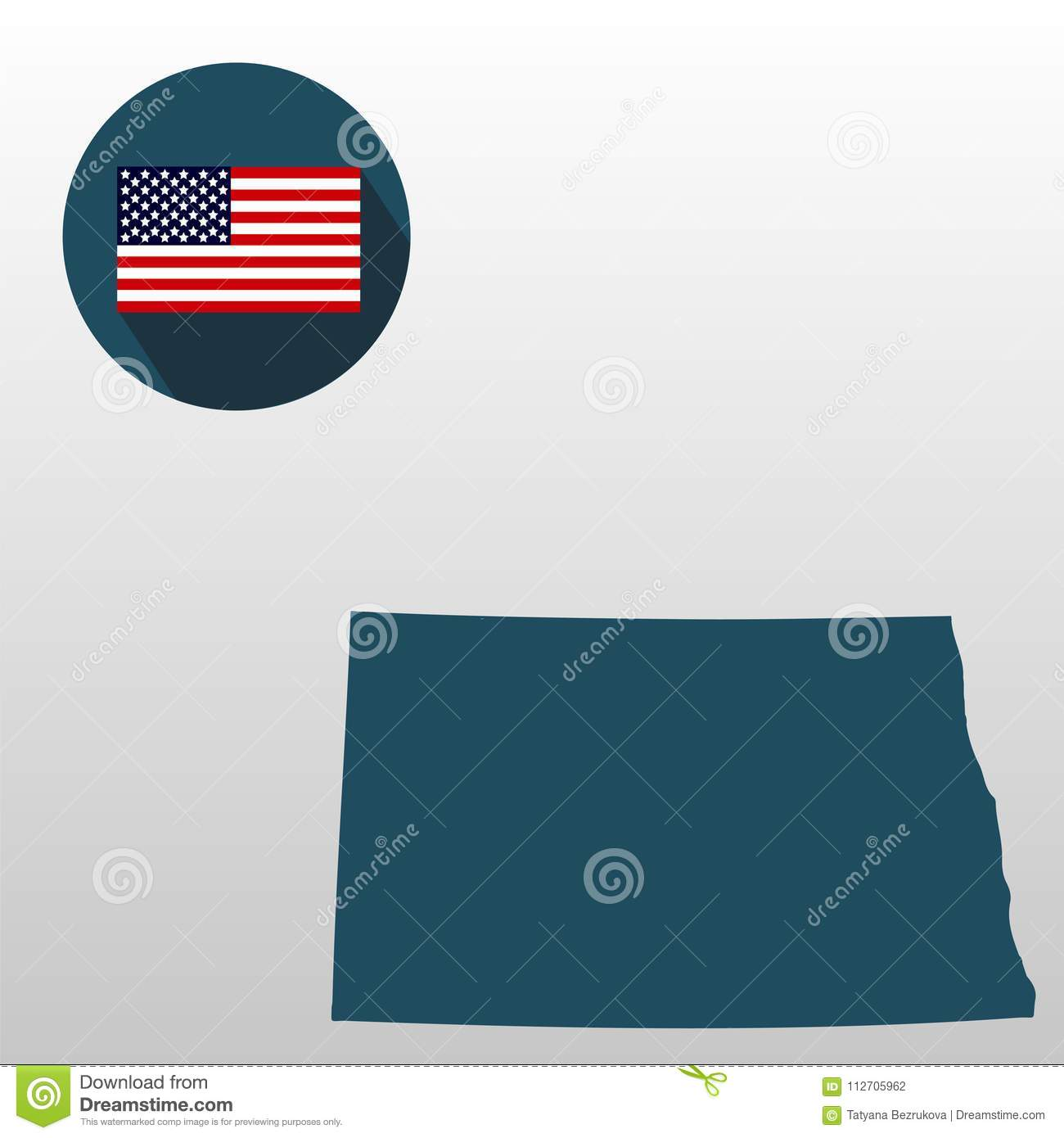 Map Of The U.S. State Of North Dakota On A White Background ...