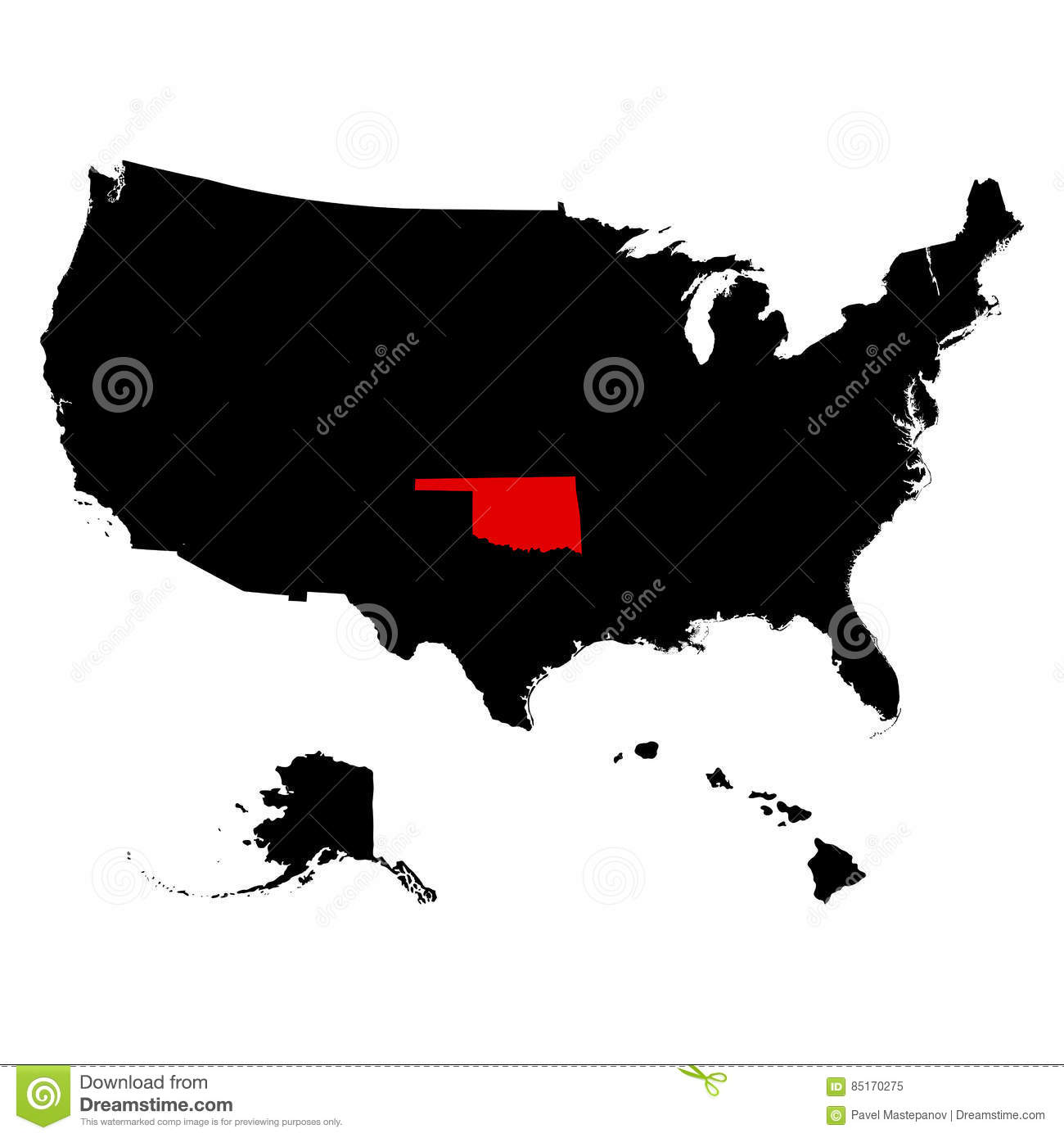 Map Of The U.S. State Oklahoma Stock Vector - Illustration of gray S In Oklahoma Map on