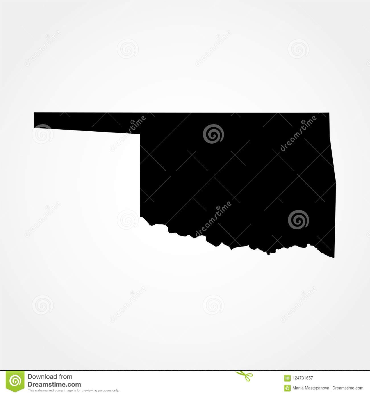 Map Of The U S State Of Oklahoma Stock Vector Illustration Of
