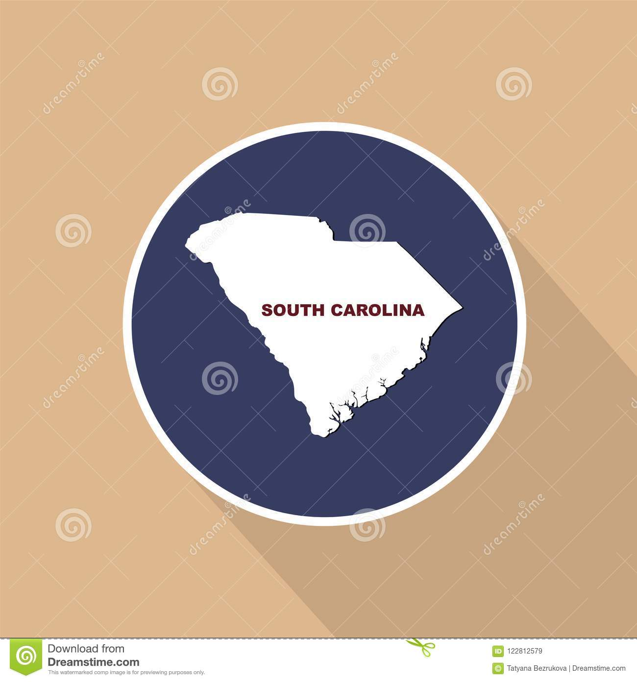 Map Of The U.S. State Of South Carolina. State Name. Stock ...