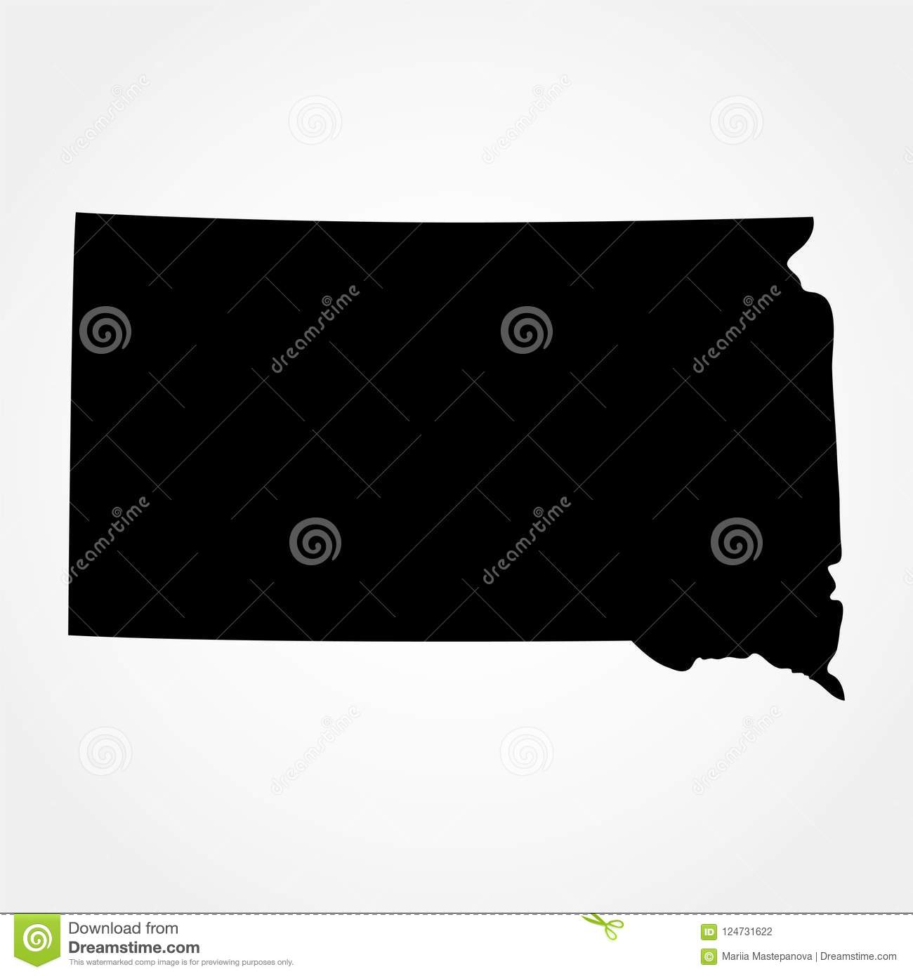 Map Of The U S State Of South Dakota Stock Vector Illustration Of