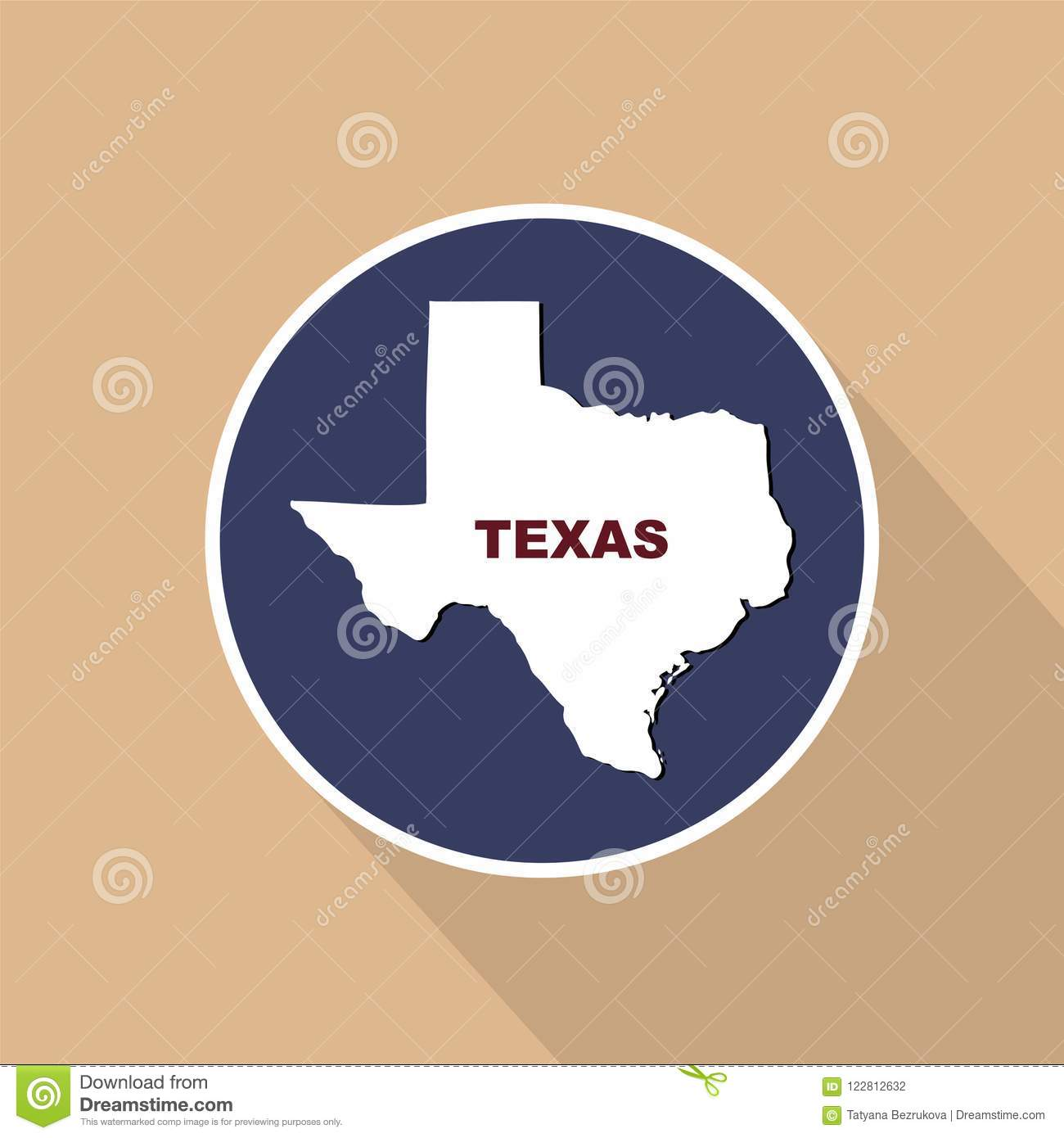 Map Of The Us State Of Texas On A Blue Background State Name - Texas-on-the-us-map