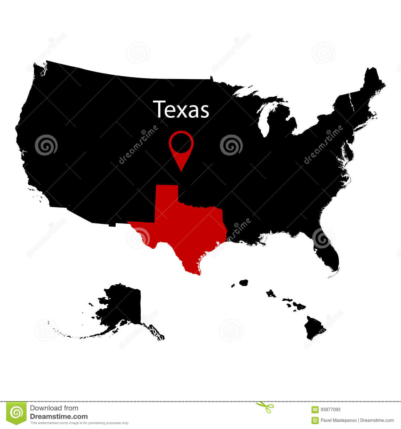 Map Of The Us State Of Texas Stock Vector Illustration Of - Texas-on-the-us-map