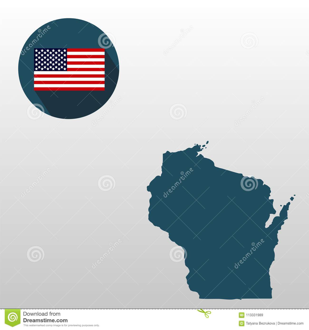 Wisconsin On A Us Map.Map Of The U S State Of Wisconsin On A White Background American