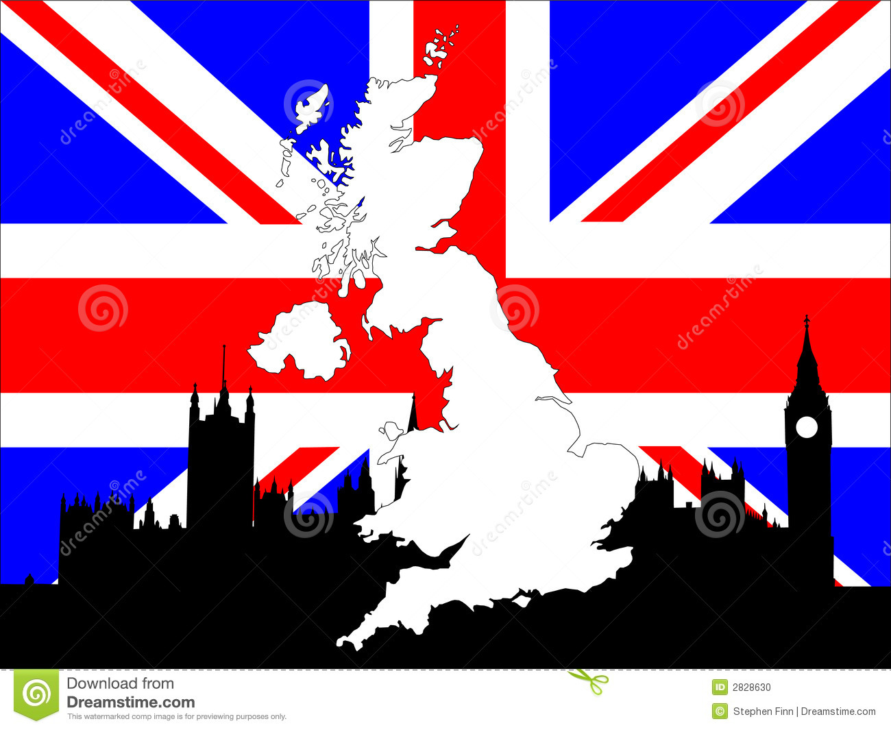map of uk on british flag stock photo image 2828630