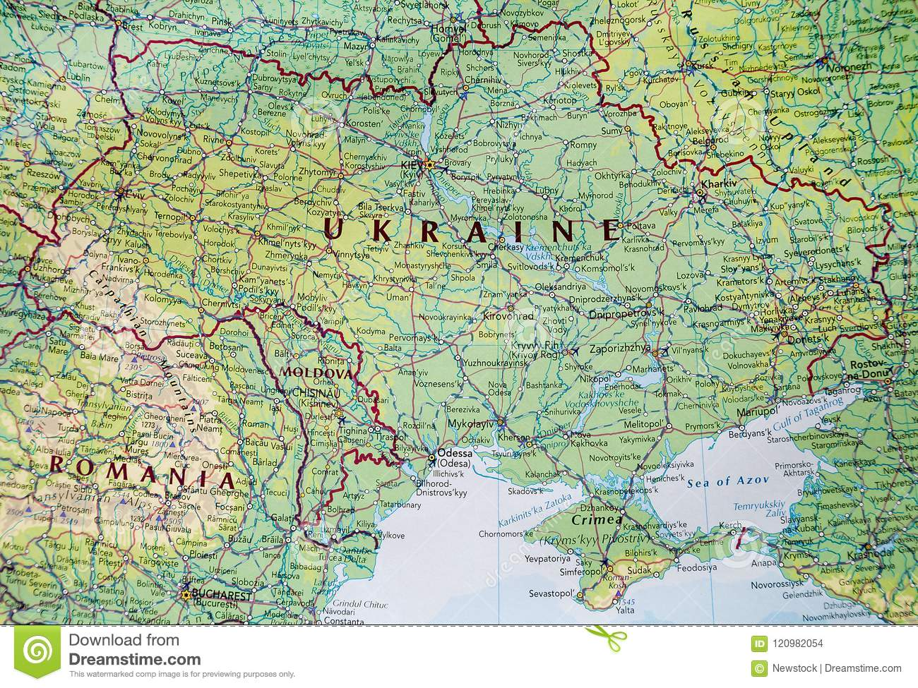 Map of Ukraine with Crimea stock photo. Image of guide - 120982054