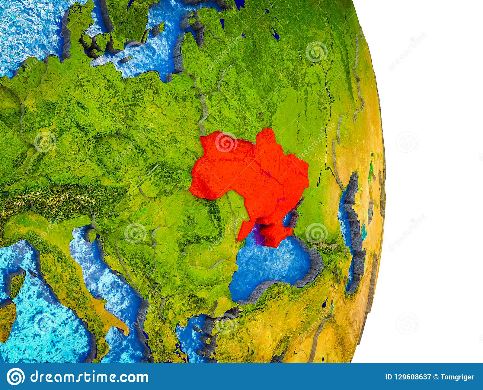 Picture of: Map Of Ukraine On 3d Earth Stock Illustration Illustration Of Ukraine 129608637