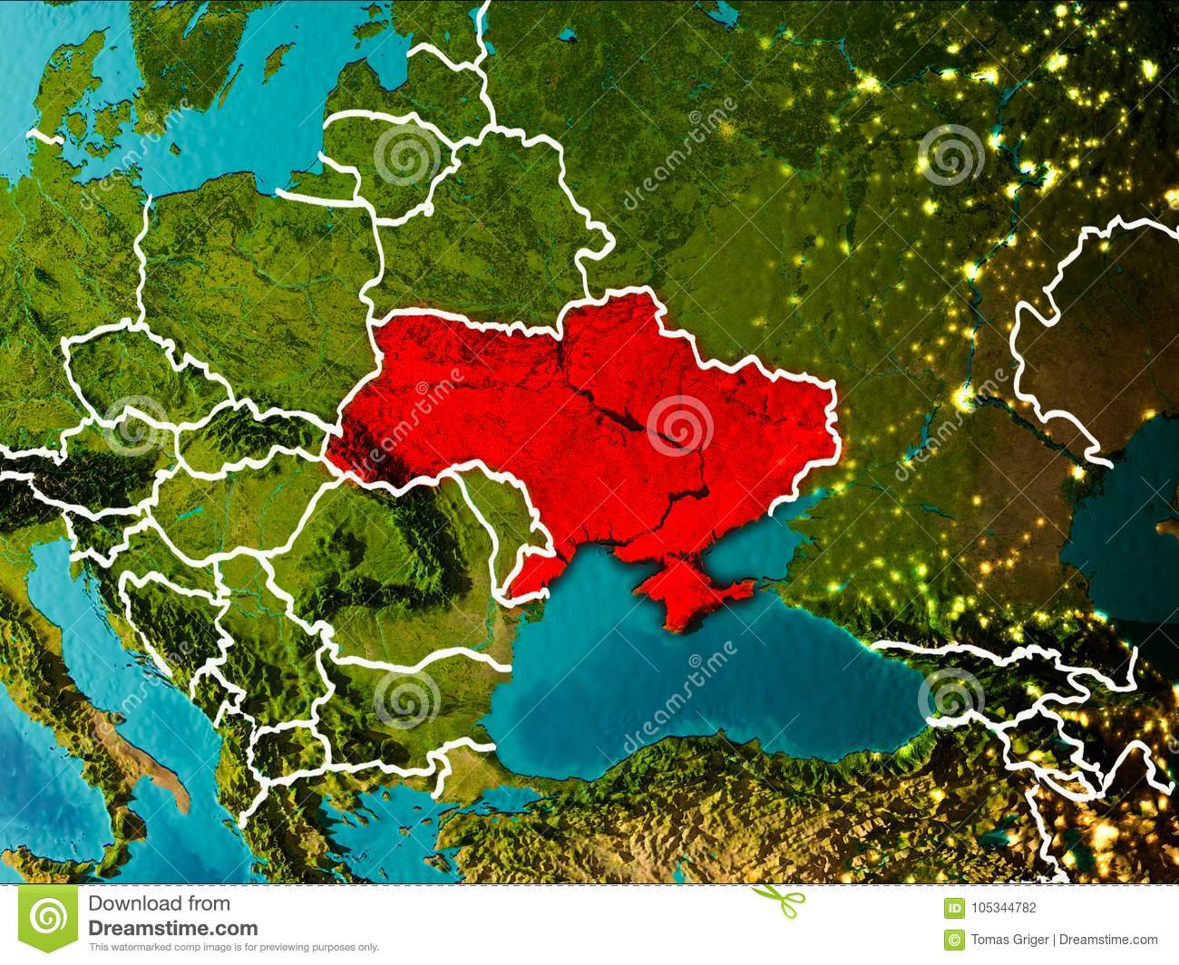 Picture of: Map Of Ukraine On Earth Stock Illustration Illustration Of Planet 105344782