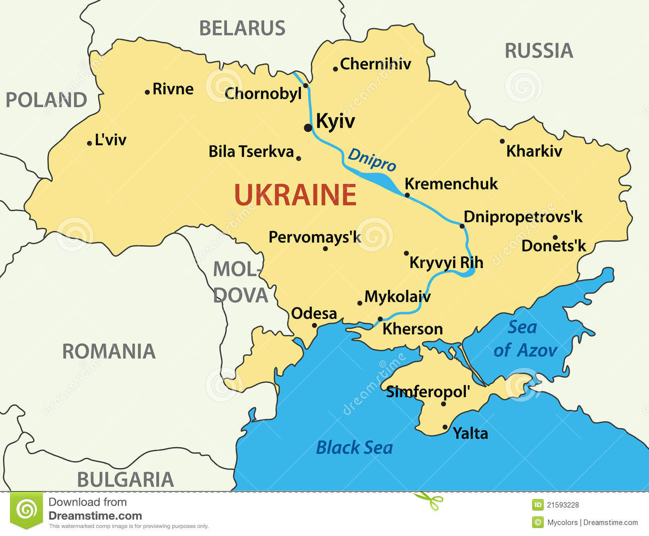 Map of Ukraine - illustration- vector