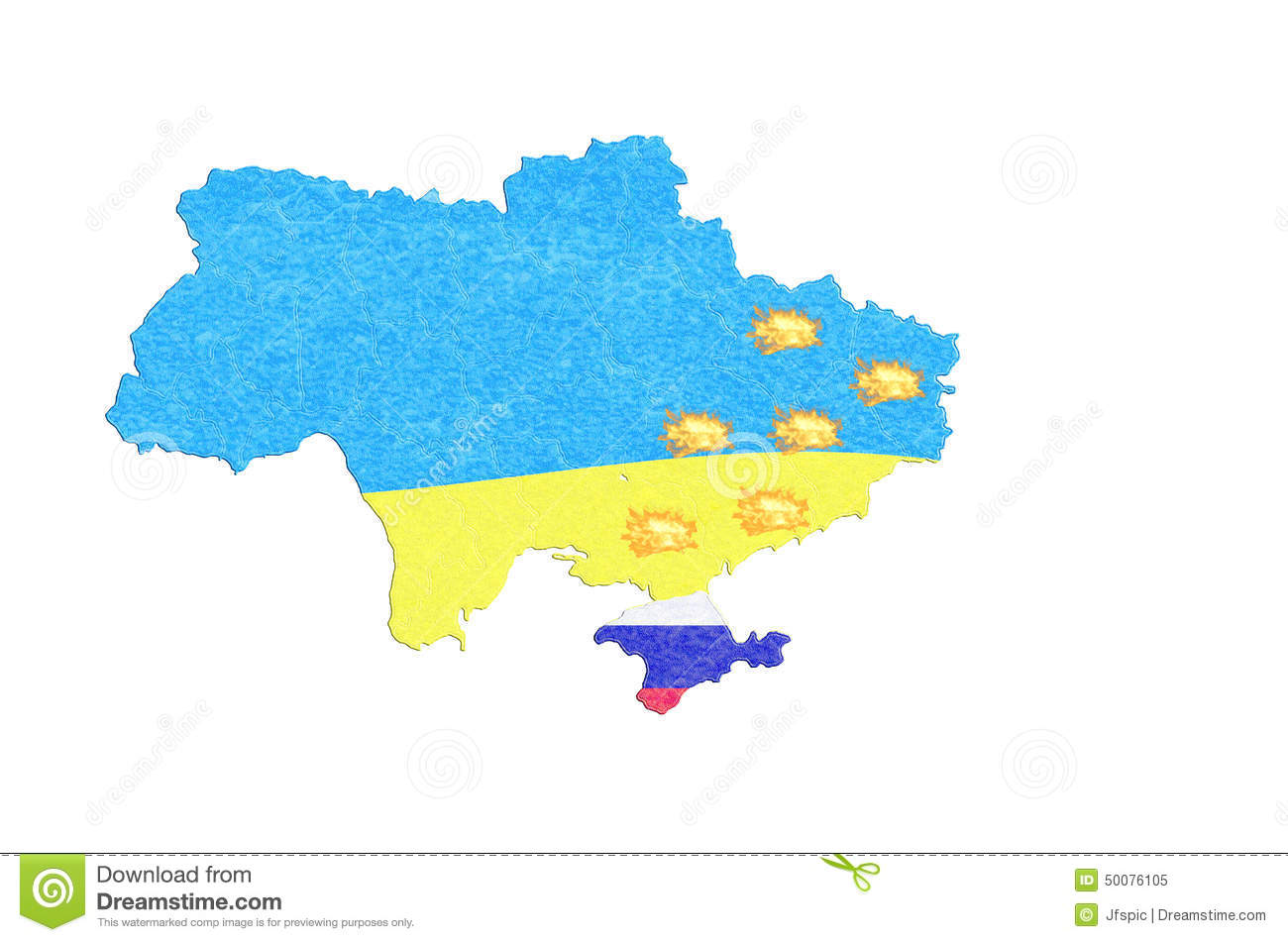 Map Ukraine Map With Small Fires. Stock Illustration - Illustration ...