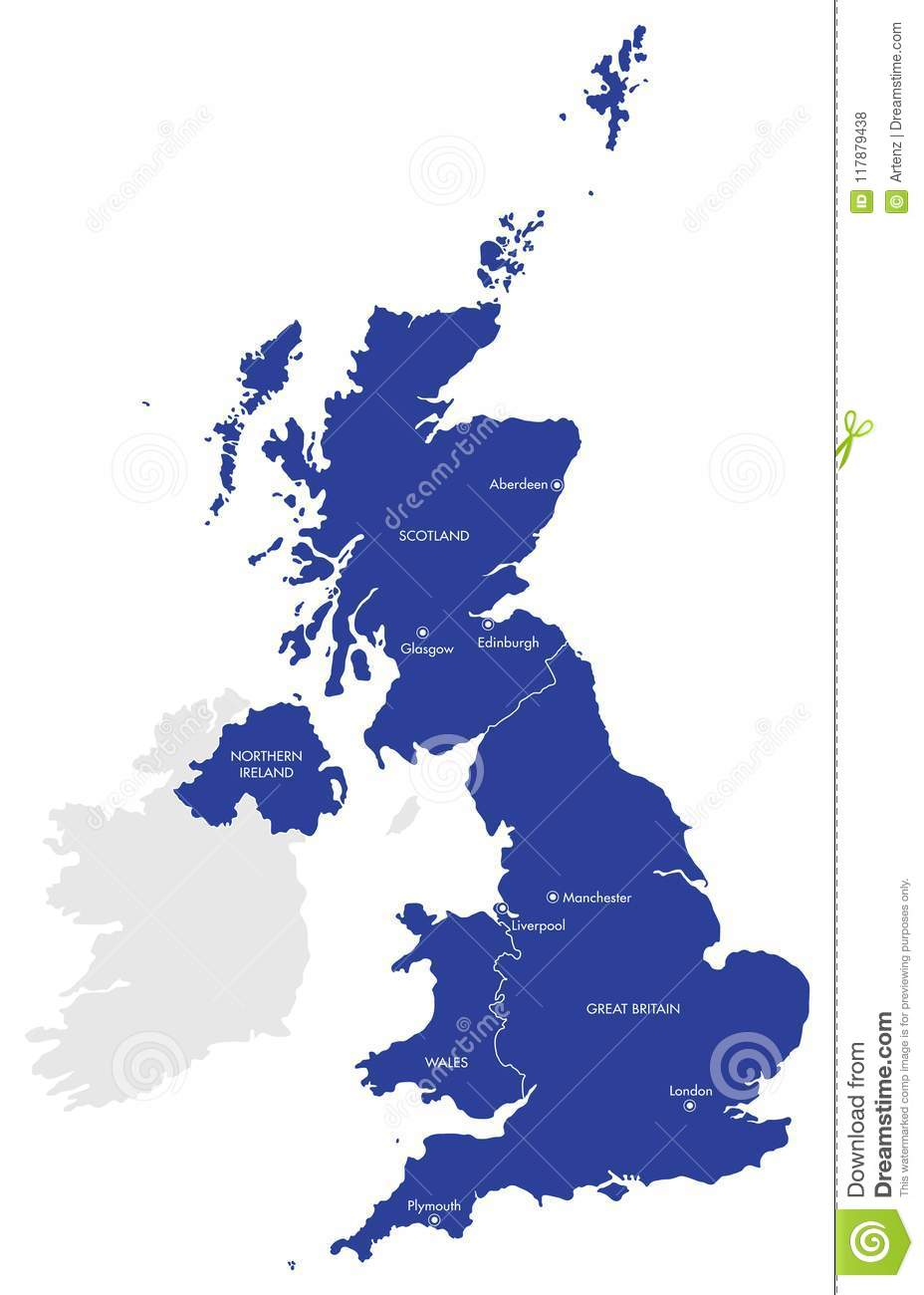 Map Of Uk And Ireland With Cities.Map Of The United Kingdom With Cities And Counties Stock Vector