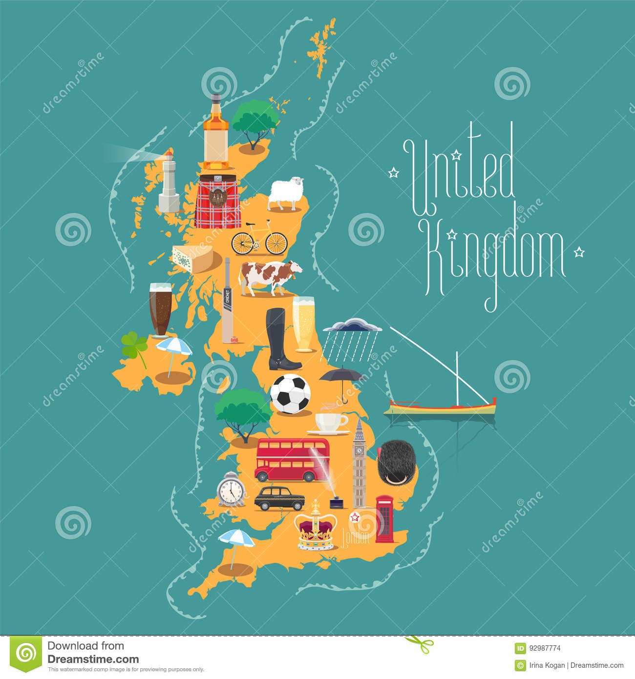 Map Of Uk Scotland And Ireland.Map Of United Kingdom Great Britain With Scotland And Ireland