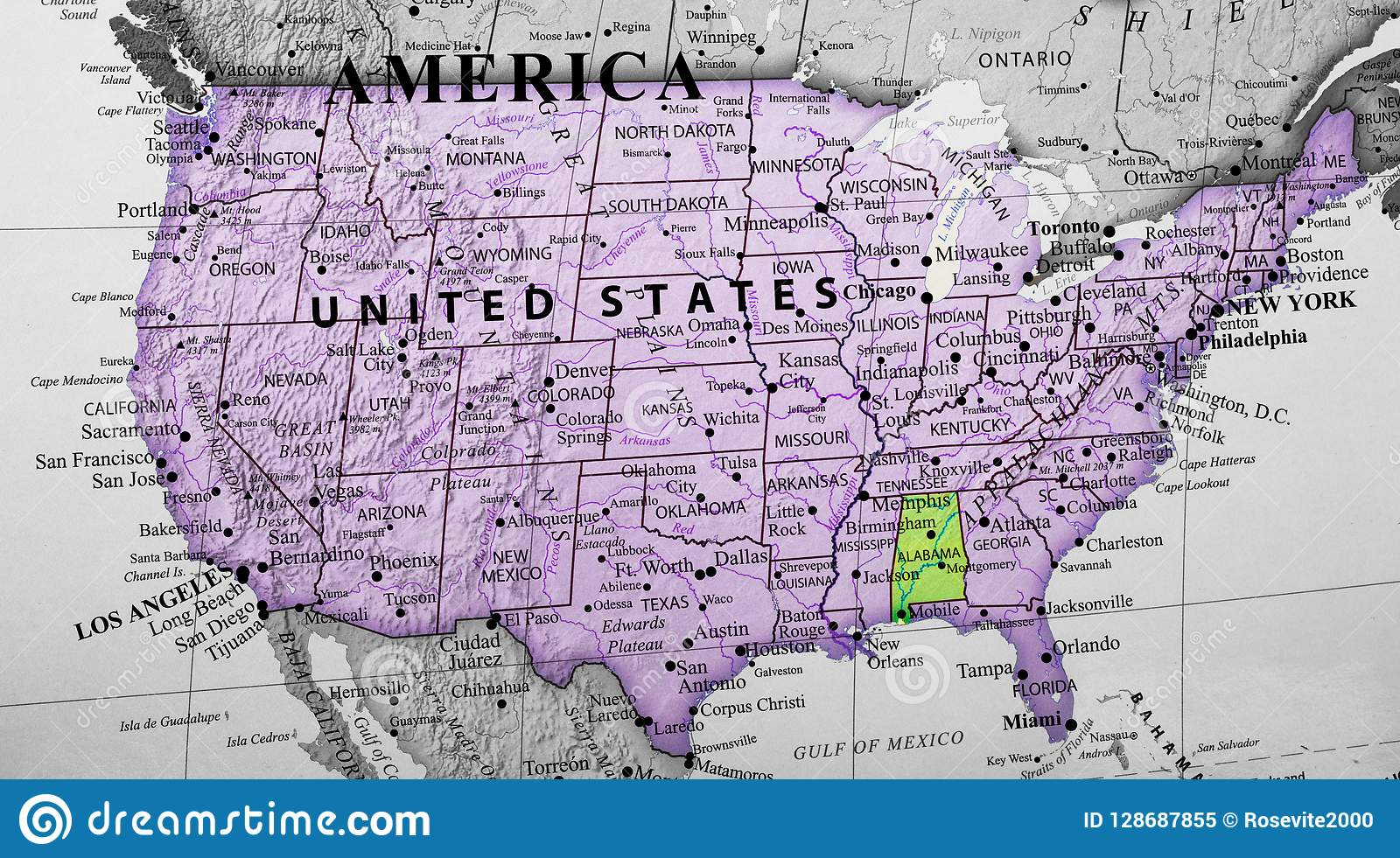 Alabama United States Map.Map Of United States Of America Highlighting Alabama State Stock