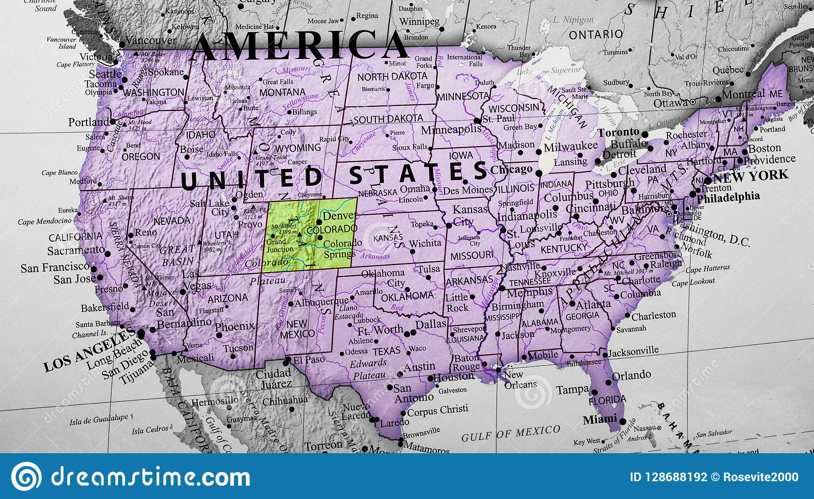 United State Of America Map.Map Of United States Of America Highlighting Colorado State Stock