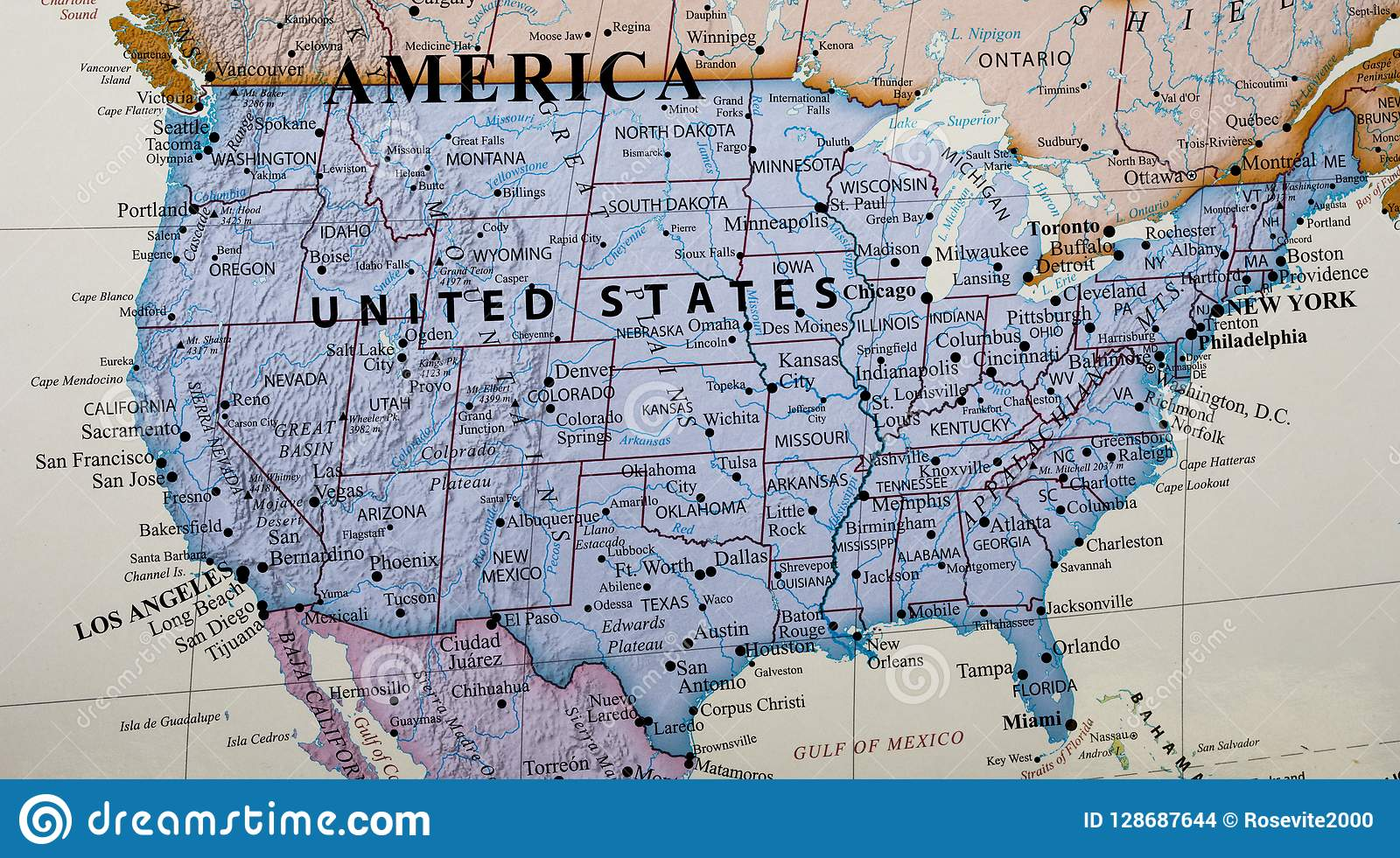 Map Of United States Of America Stock Photo - Image of ...