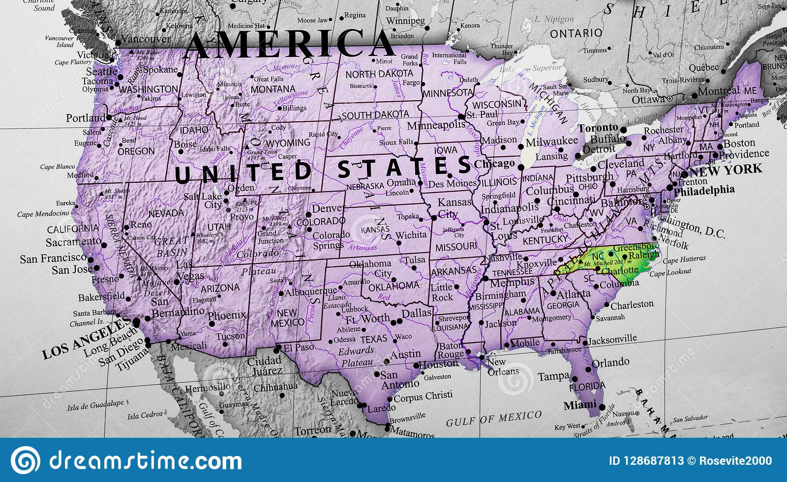 North Of Usa Map.Map Of United States Of America Highlighting North Carolina State