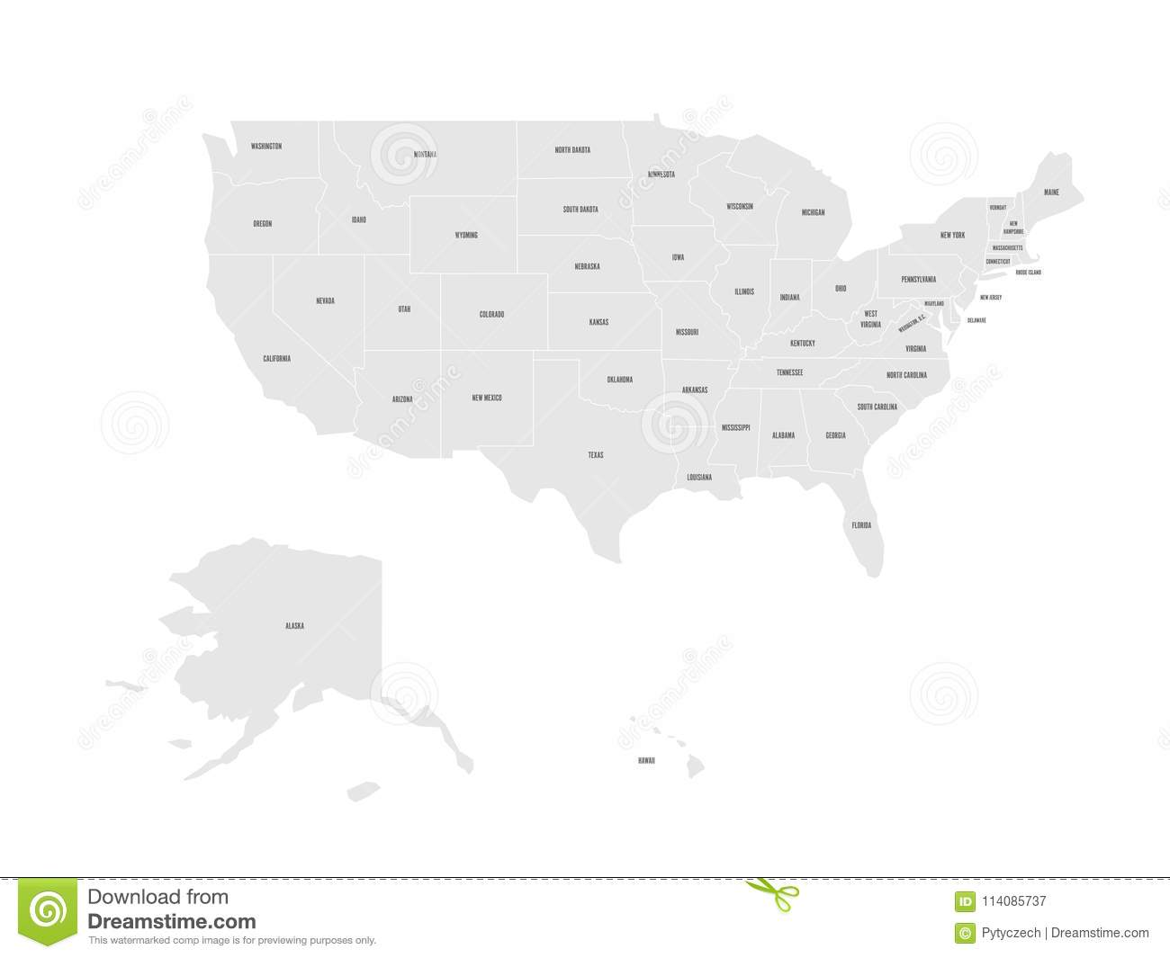Vector Map Of United States Of America With State Names ...