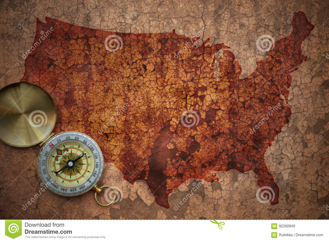 Map Of United States Of America On A Old Vintage Crack Paper Stock ...