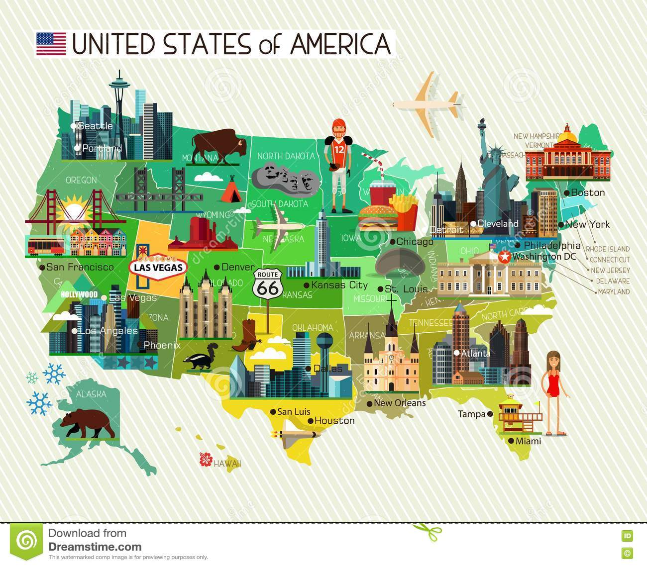Map Of The United States Of America And Skyline Travel Icons Royalty Free Stock Pos