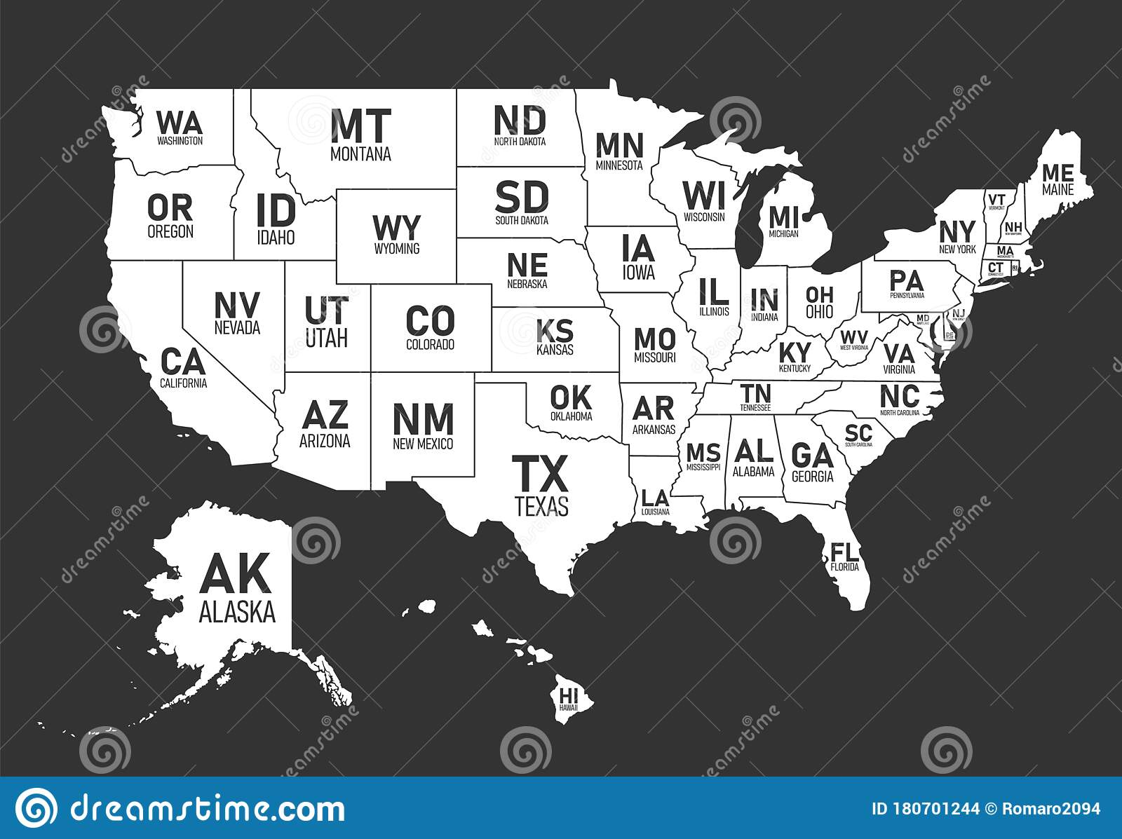Picture of: Map Of United States Of America With State Names And Abbreviations Black And White Print Map Of Usa Vector Flat Style Stock Vector Illustration Of Flat Concept 180701244