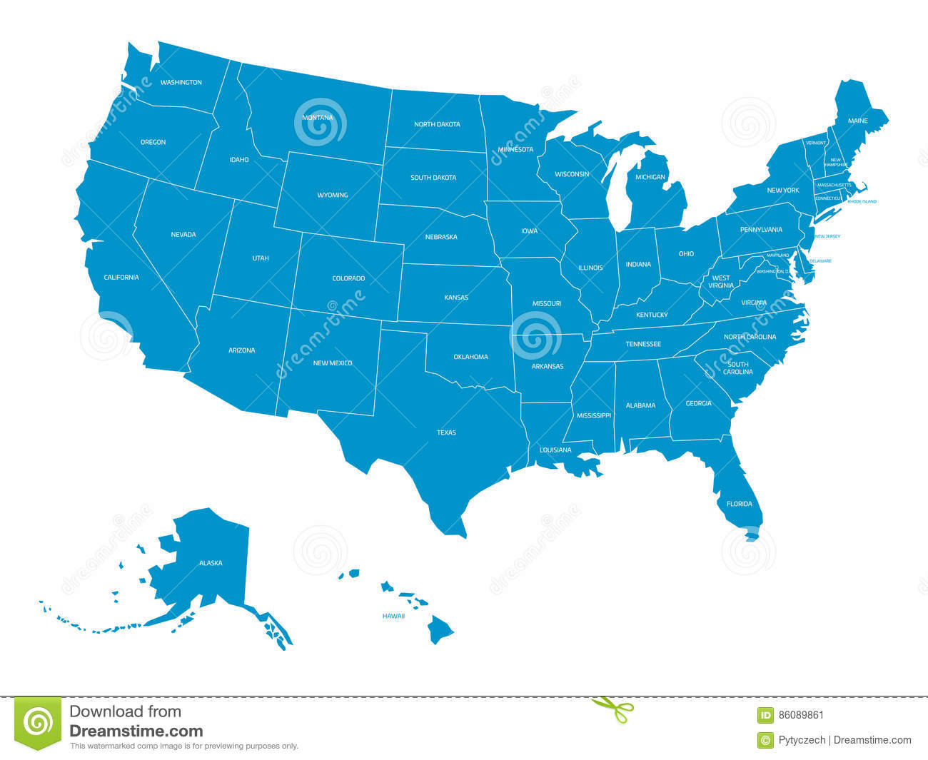 Map Of United States Of America With State Names. Simplified Dark ...