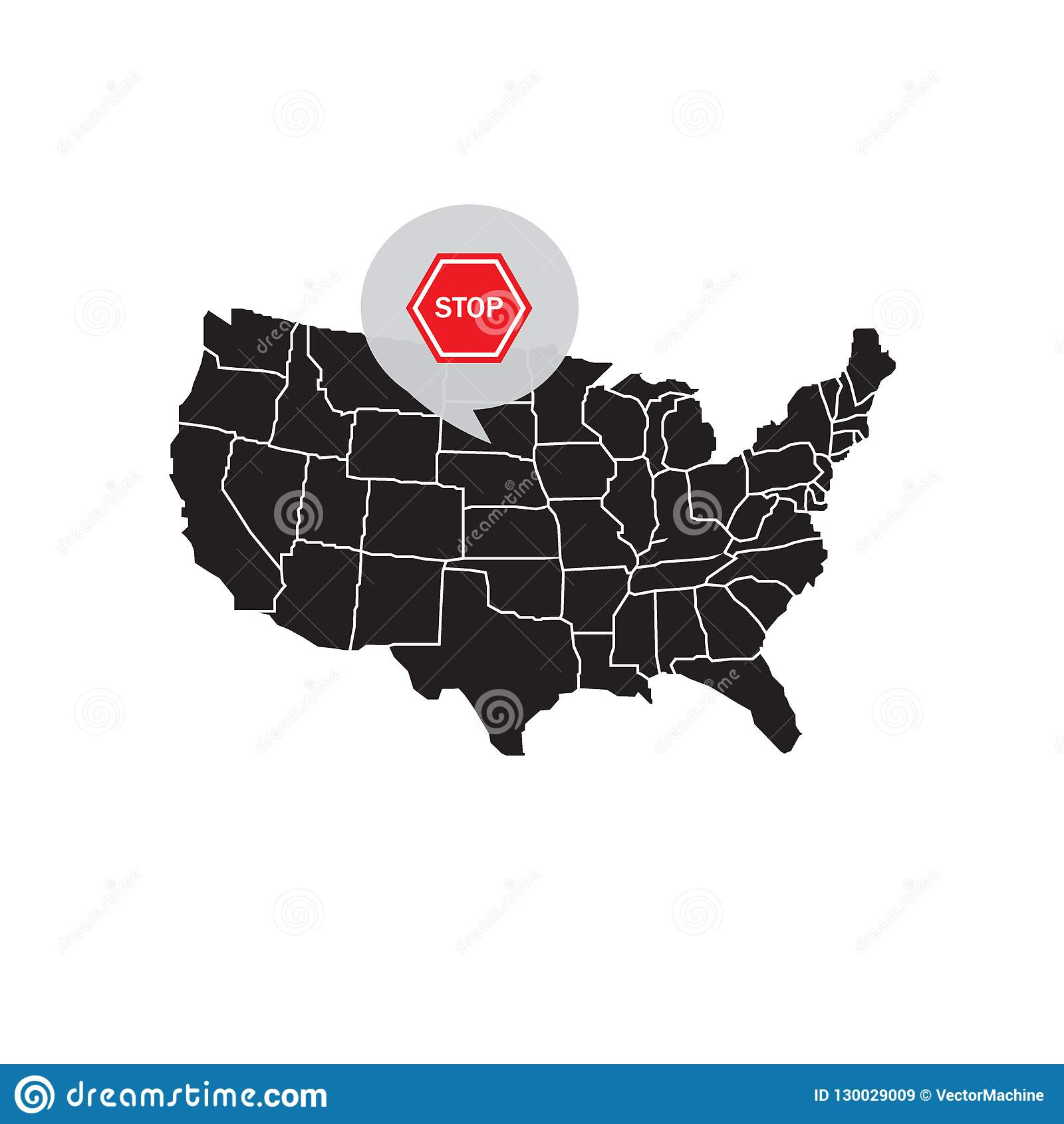 Map of United states America with a stop signal.