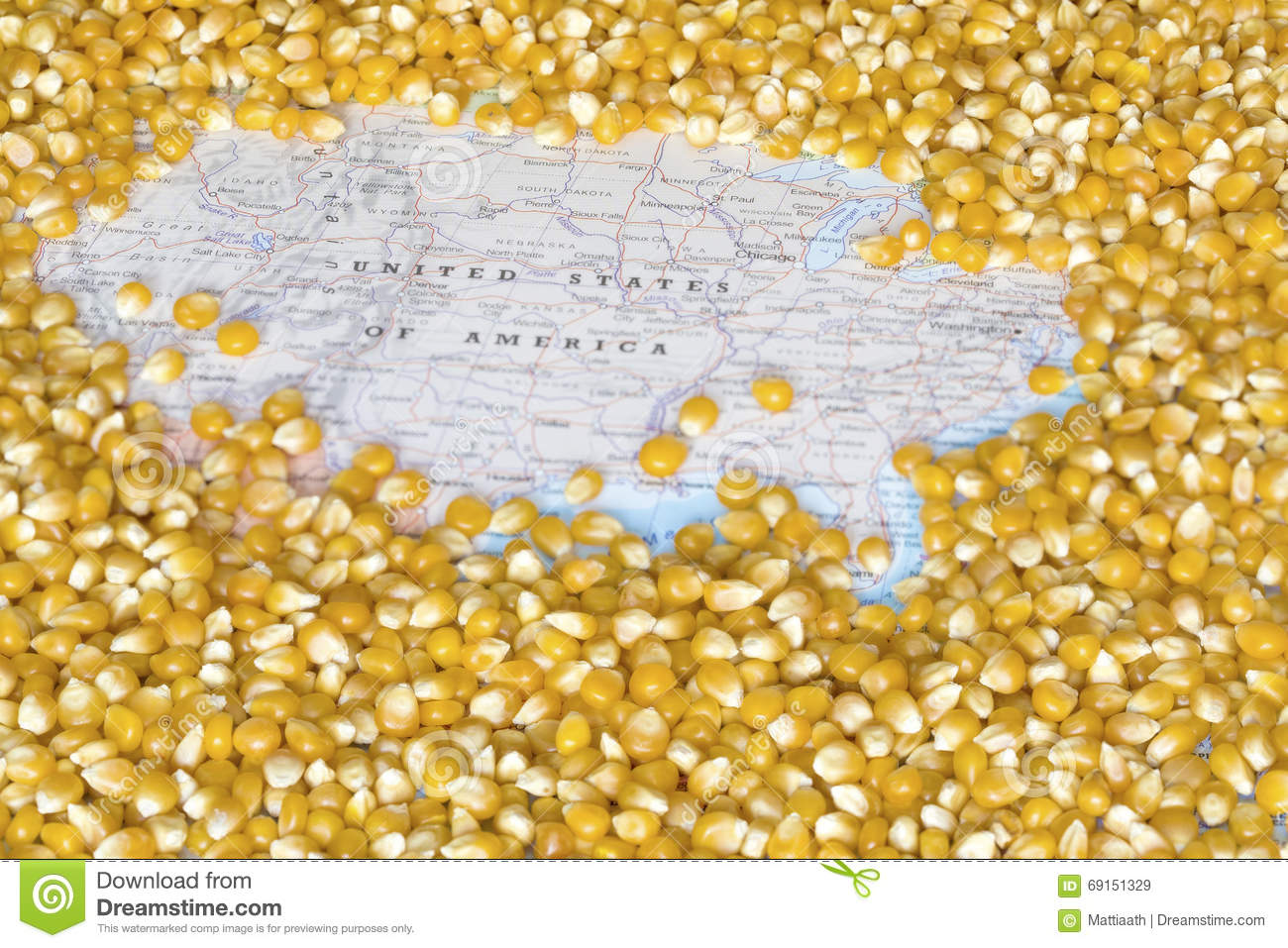 Map Of United States Of America Under A Background Of Corn Seeds ...