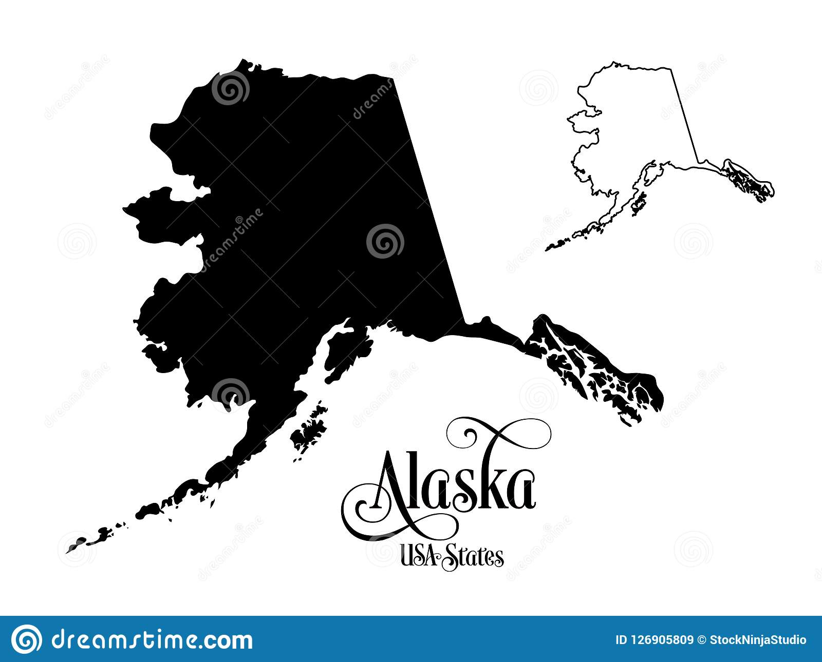 Map Of The United States Of America USA State Of Alaska ...