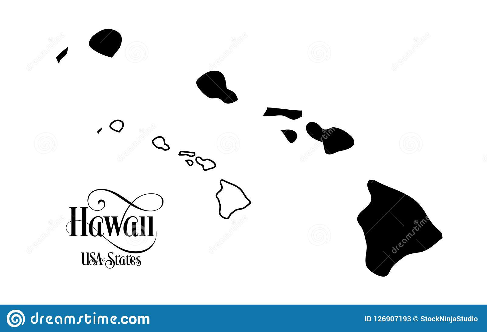 Map Of The United States Of America Usa State Of Hawaii