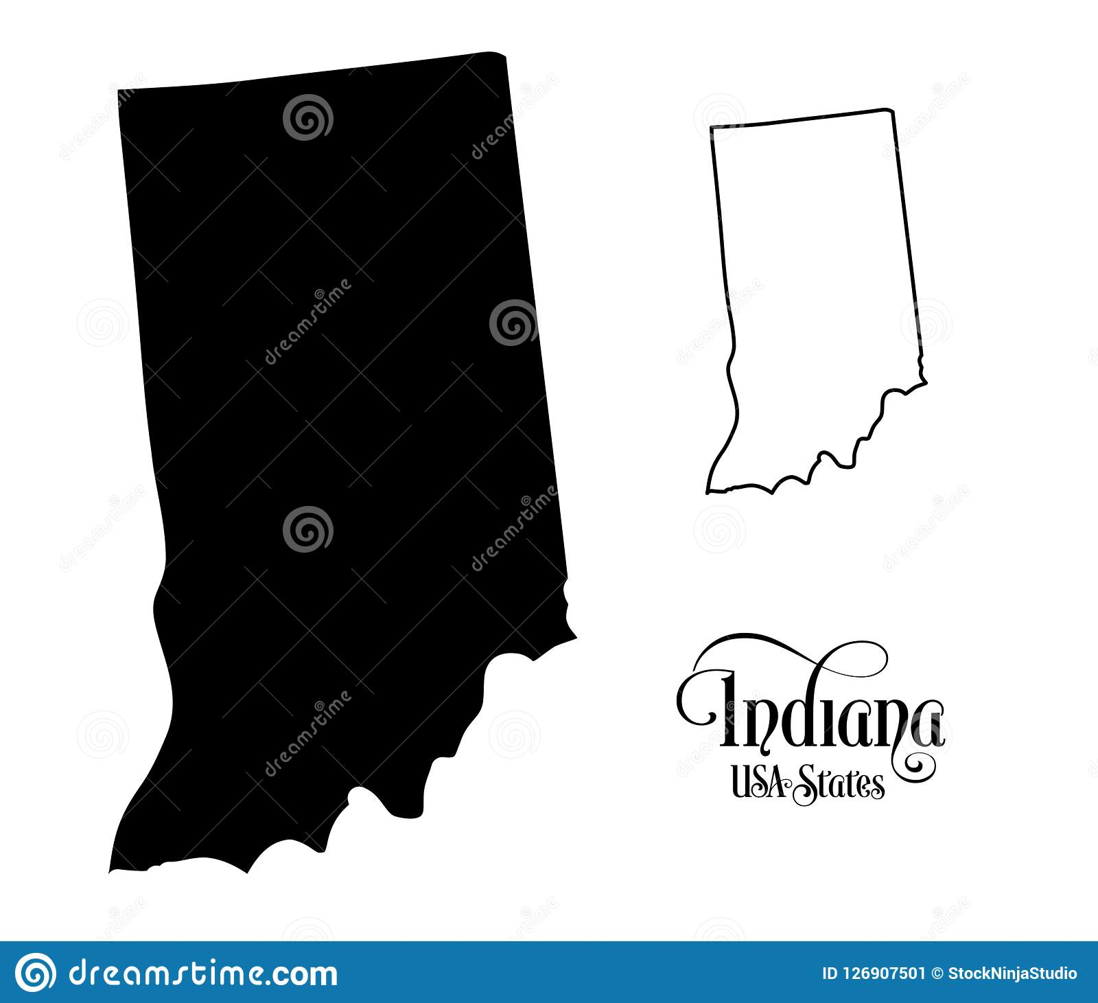 Map Of The United States Of America USA State Of Indiana ...