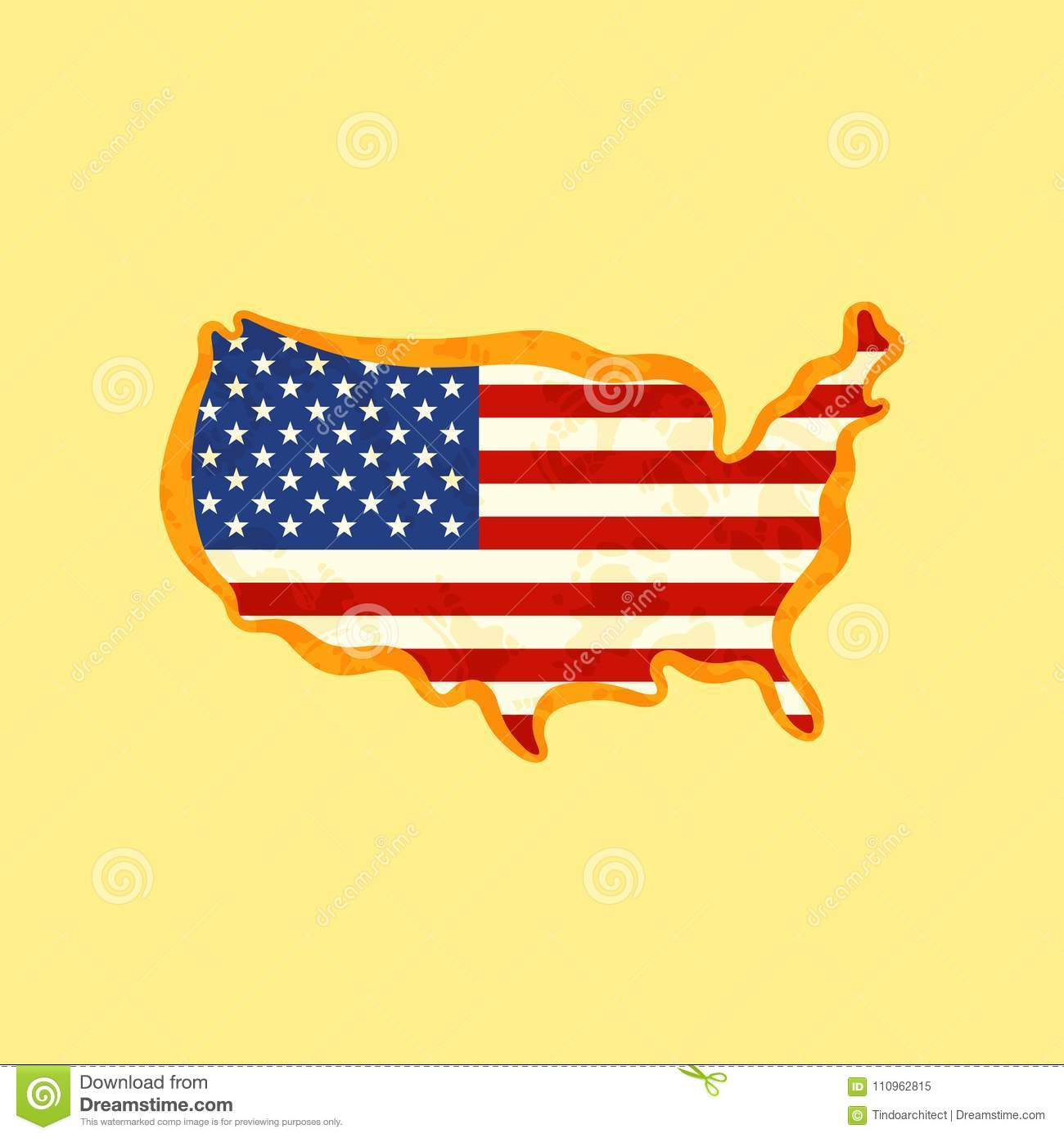 United States - Map Colored With US Flag Stock Vector - Illustration ...