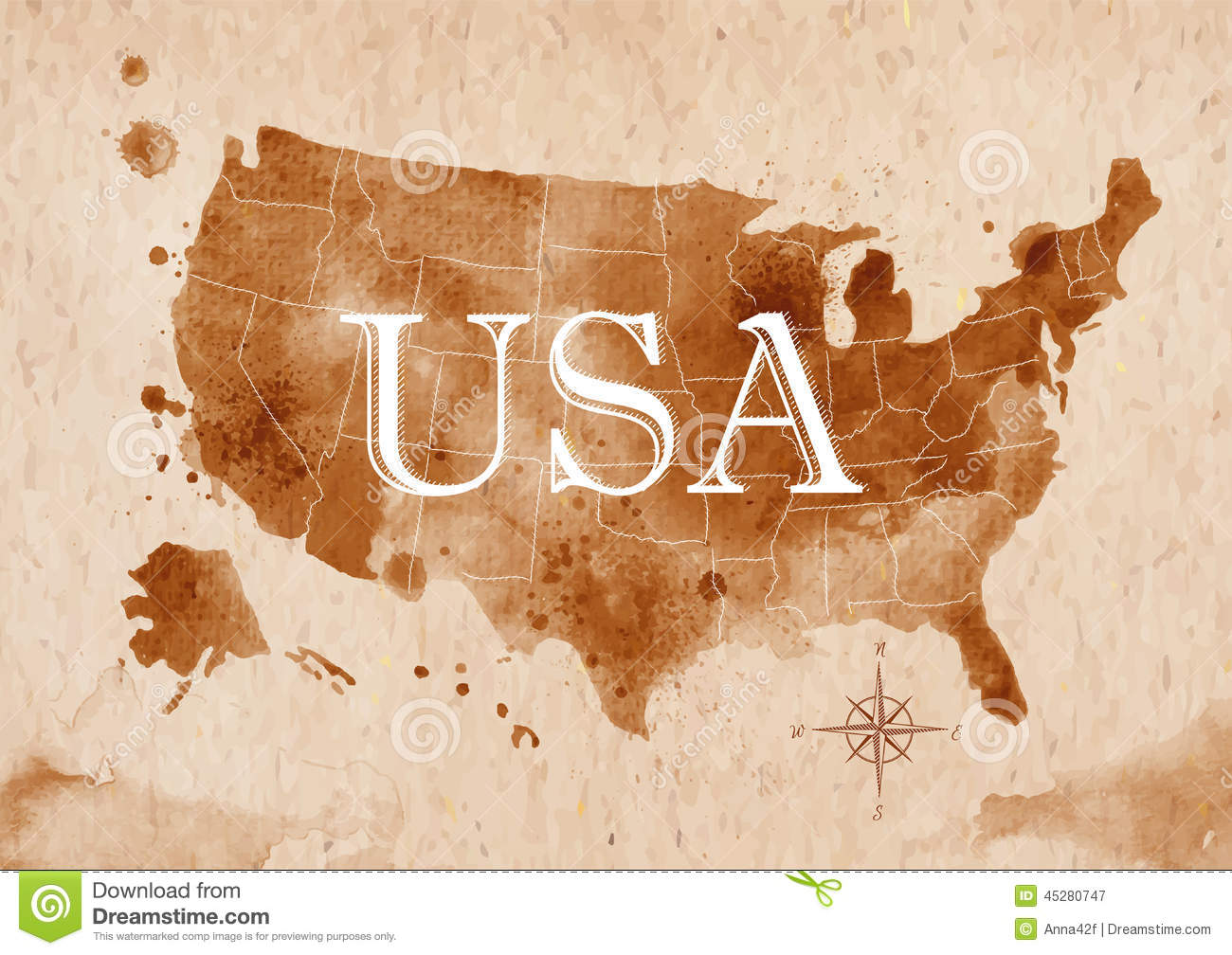 Map United States Retro Stock Vector Image - Old us map and pics