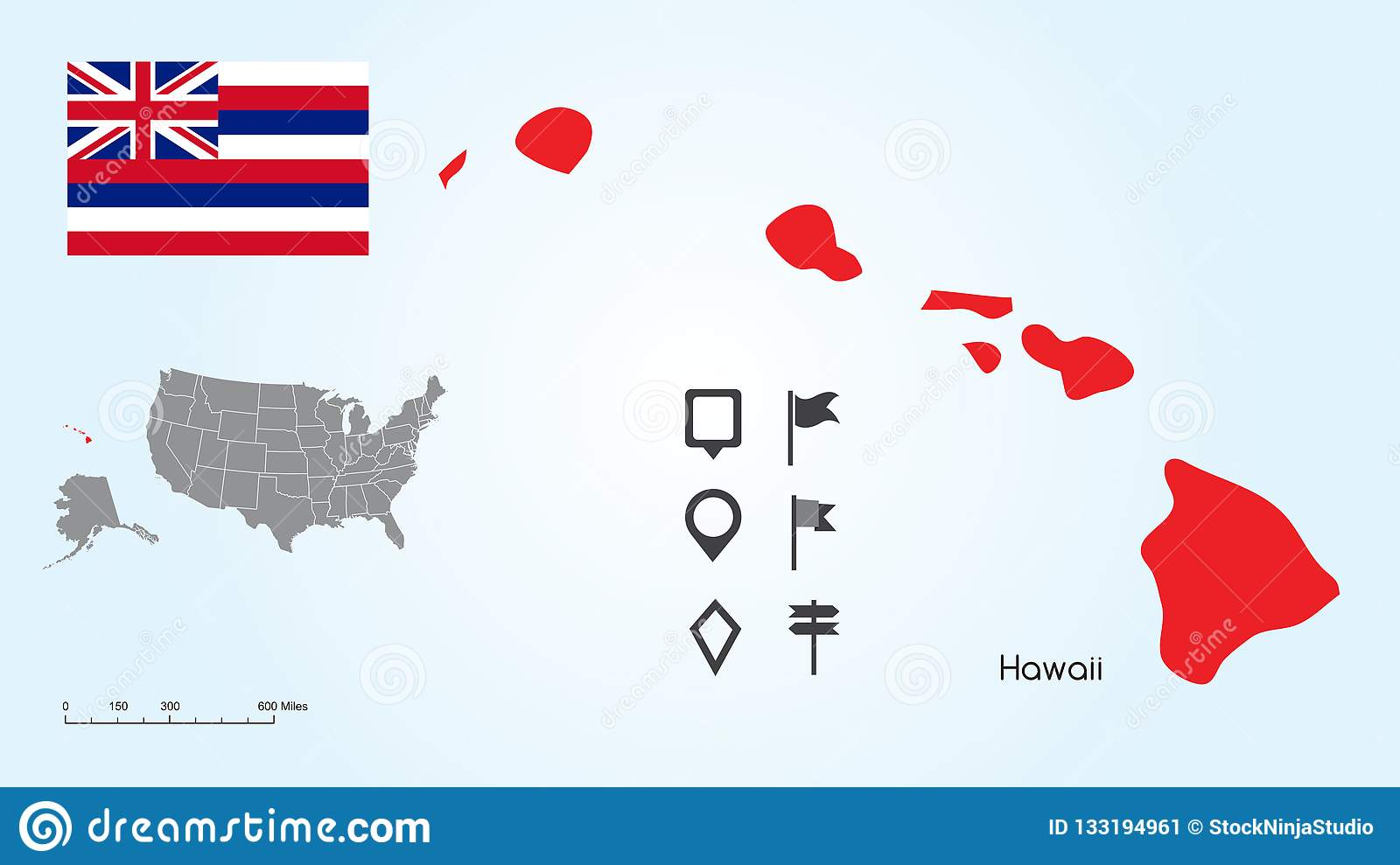 Map Of The United States With The Selected State Of Hawaii And ...