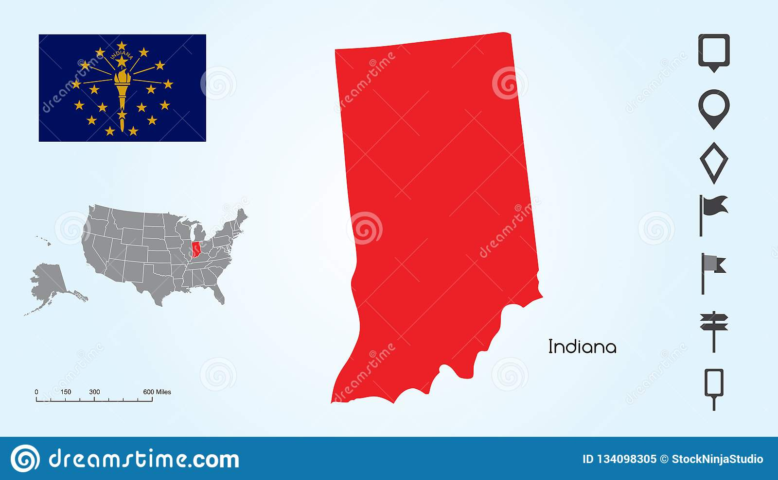 Map Of The United States With The Selected State Of Indiana And ...