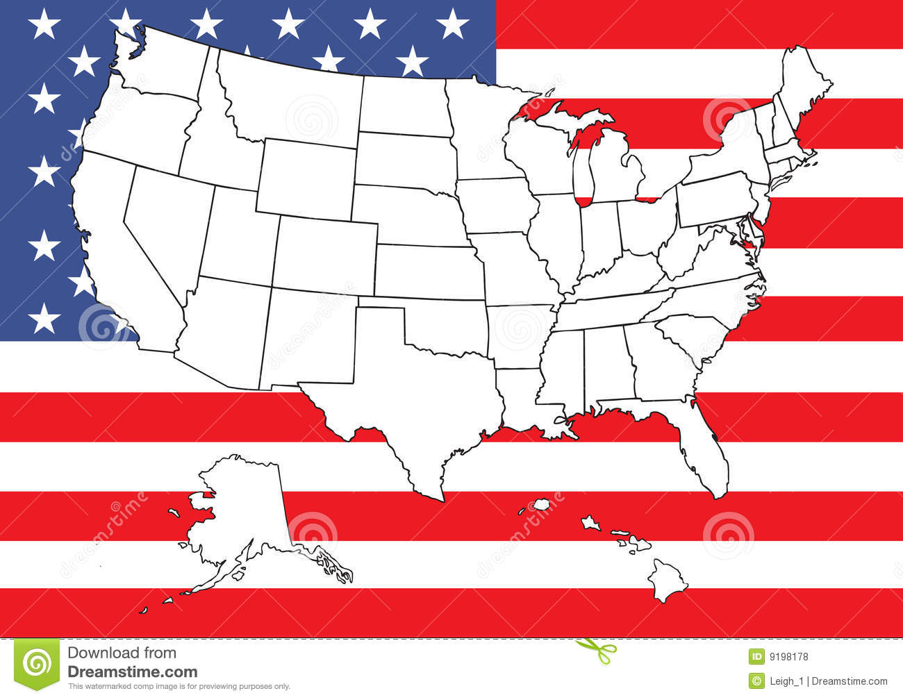 Map Of US With Flag Royalty Free Stock Photos Image - Us flag map