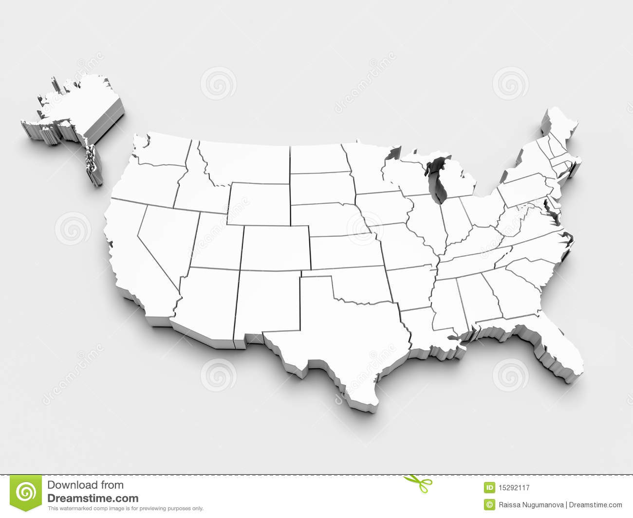 Map of USA. 3d stock illustration. Illustration of dimensional