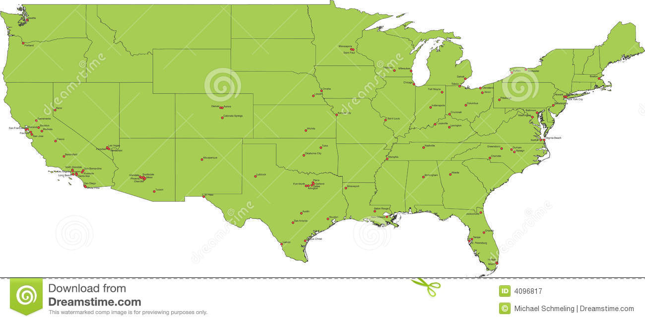 Map of USA stock vector. Illustration of chart, cities - 4096817
