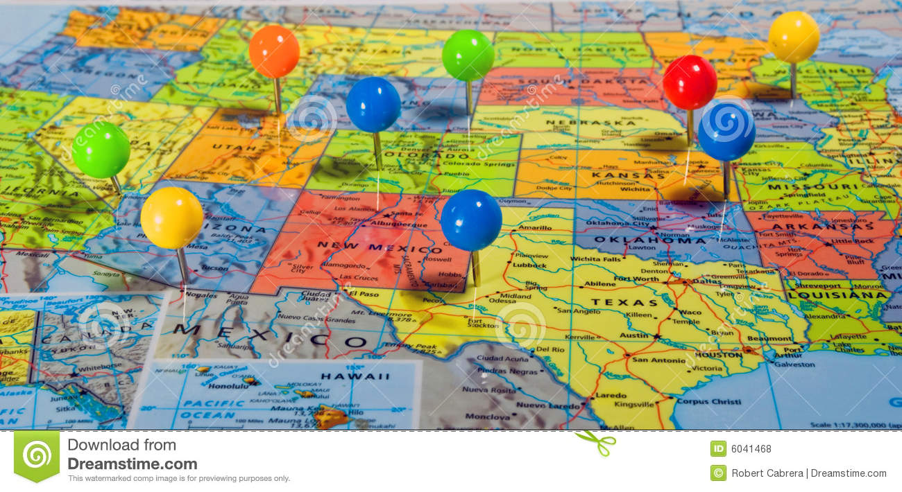 Usa Map With Pins Time Zone Map - Us-pin-map