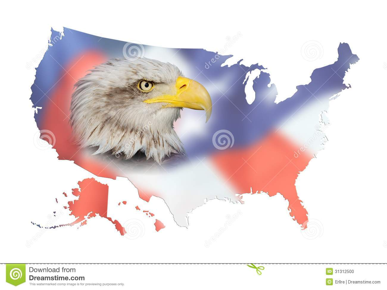 map of usa flag and bald eagle composition with a map of the united
