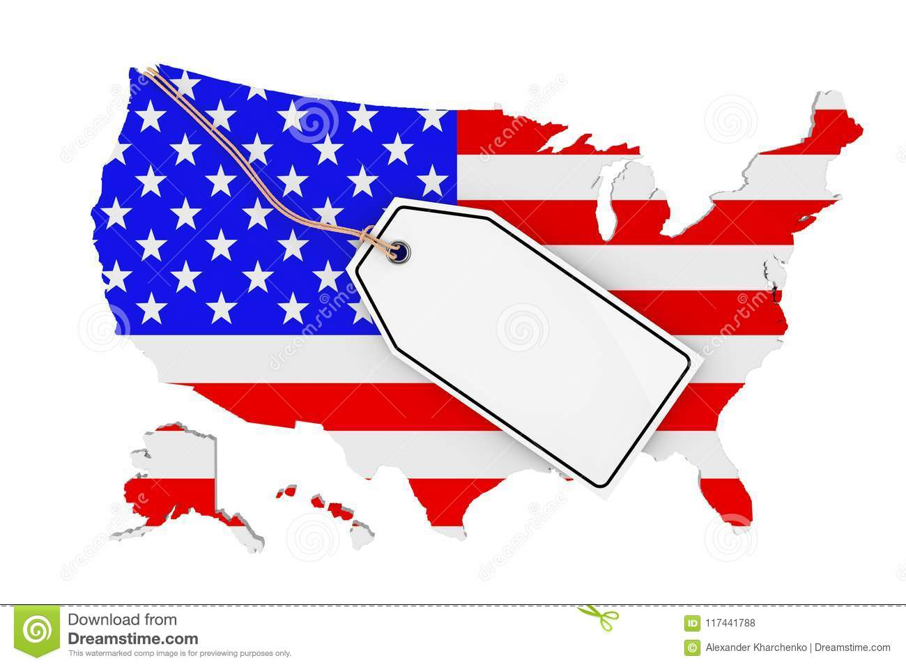 Map Of Usa With Flag And Blank Sale Tag 3d Rendering Stock