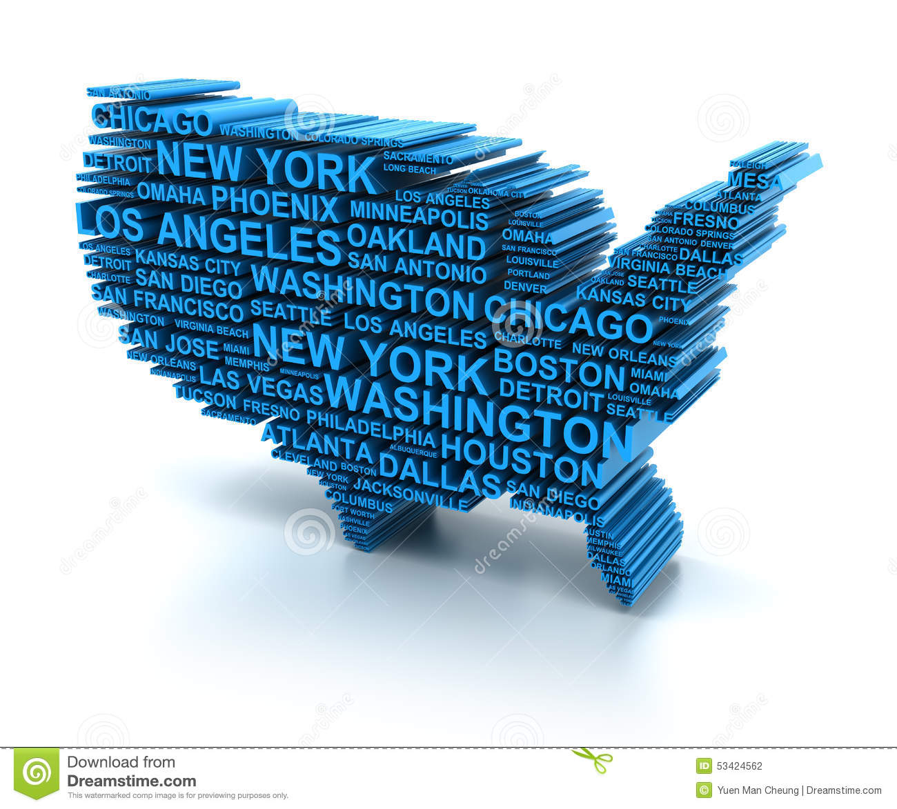 Map Of USA Formed By Names Of Major Cities Stock ...