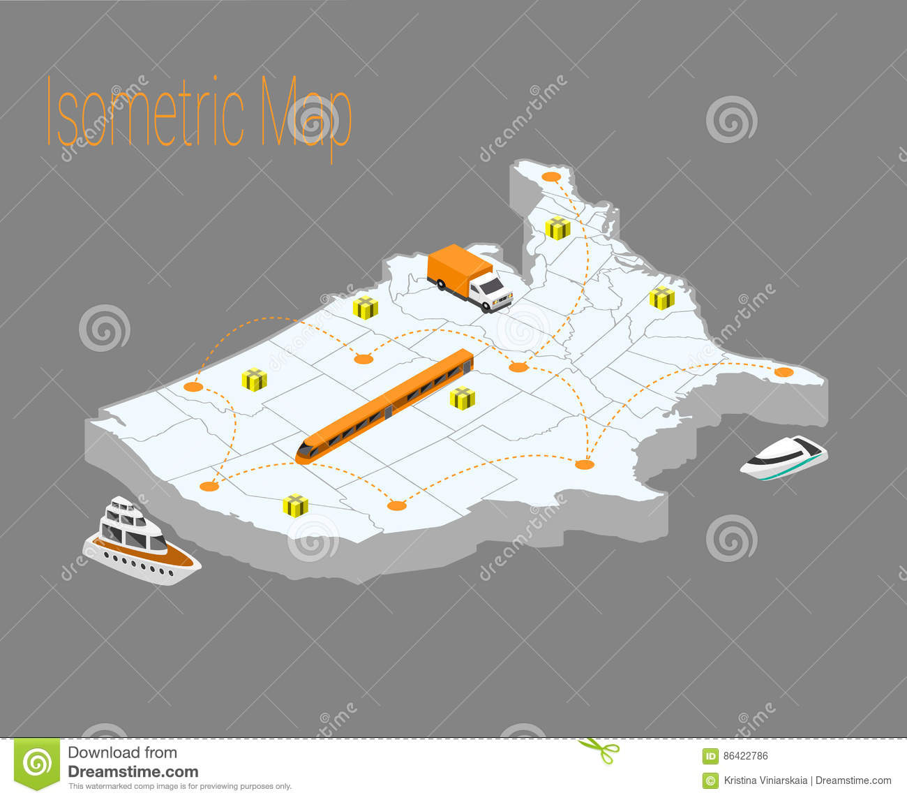 Flat Us Map.Map Usa Isometric Concept Stock Vector Illustration Of Ship 86422786