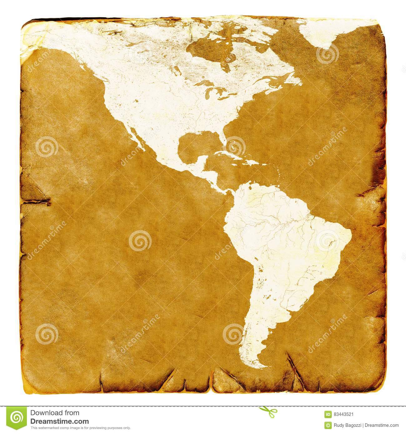 Map Of USA And Latin America Blank In Old Style. Brown Graphics In A ...