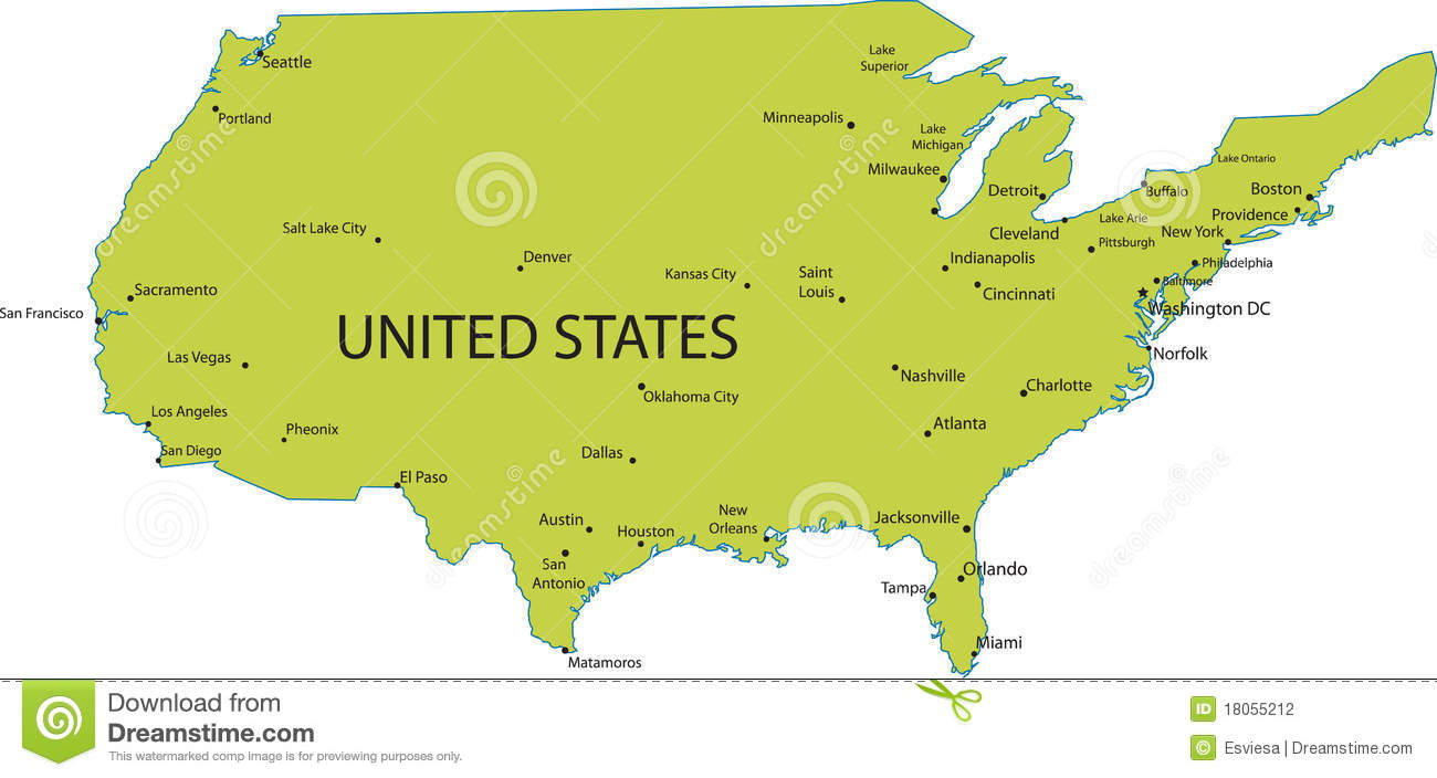 Map Of USA With Major Cities Stock Photography Image - Map of united states with capitals and major cities